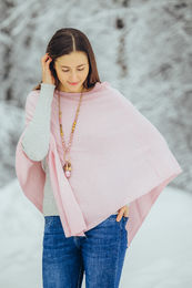 Cashmere collection poncho. Vaaleanpunainen.